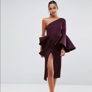 ASOS PREMIUM One Shoulder Midi Dress